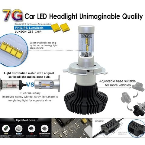 Car LED Headlamp Kit UP-7HL-H3W-4000Lm (H3, 4000 lm, cold white) Preview 2